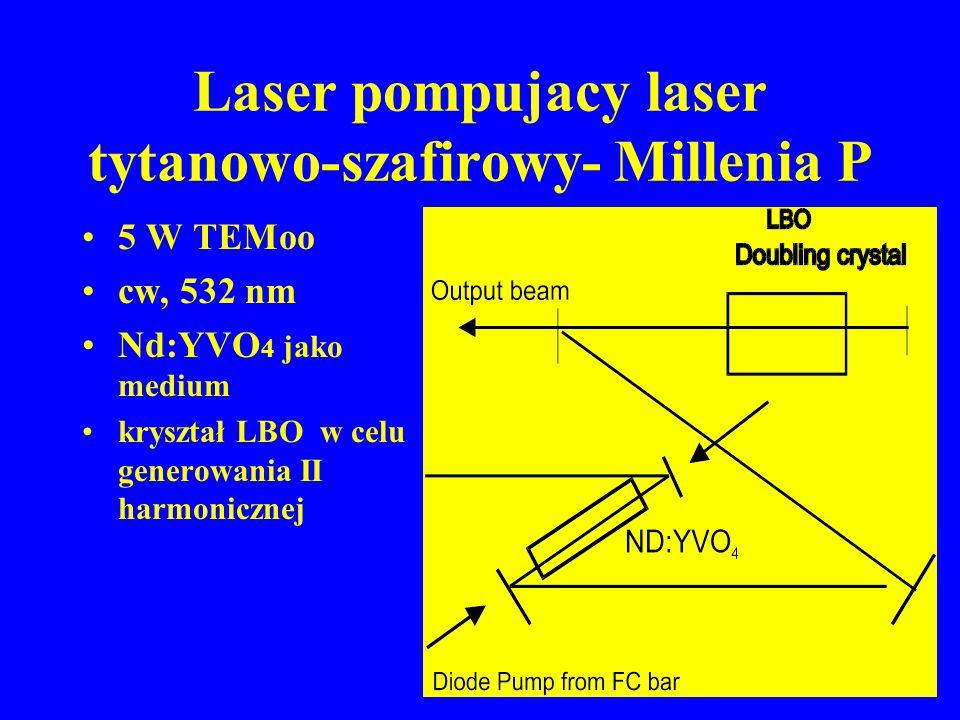 Laser pompujacy laser tytanowo-szafirowy- Millenia P 5 W TEMoo cw, 532 nm Nd:YVO 4 jako medium kryształ LBO w celu generowania II harmonicznej