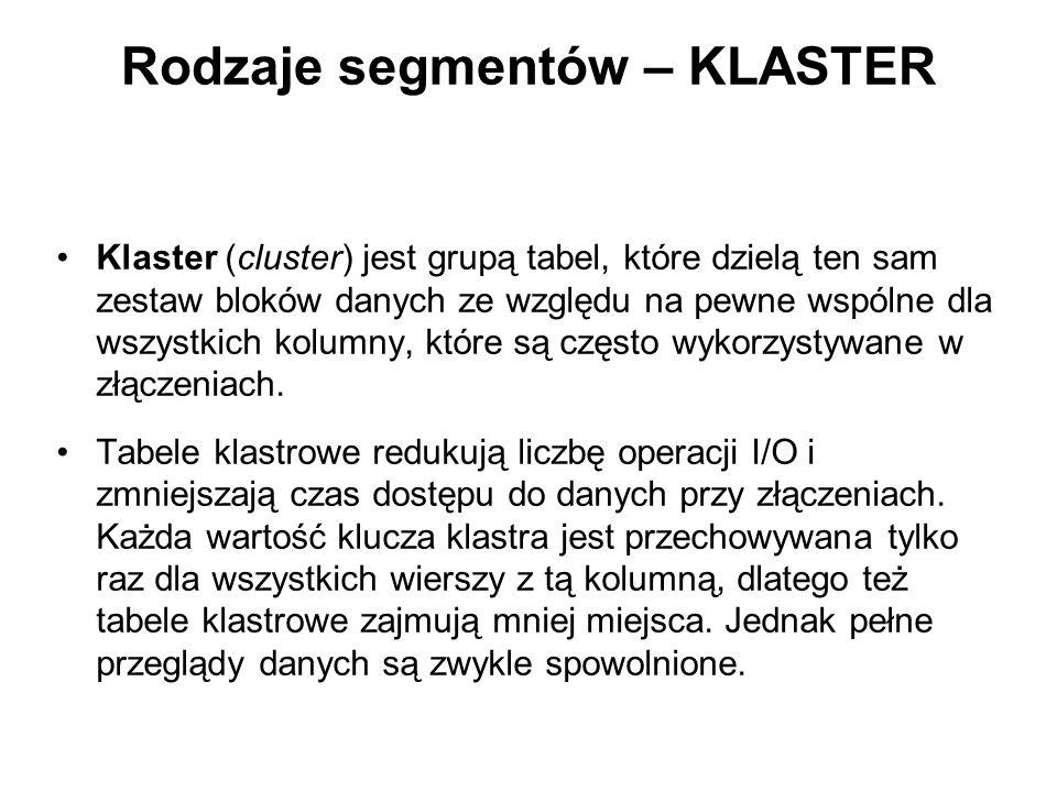 Rodzaje segmentów – KLASTER Klaster (cluster) jest grupą tabel, które dzielą ten sam zestaw bloków danych ze względu na pewne wspólne dla wszystkich k