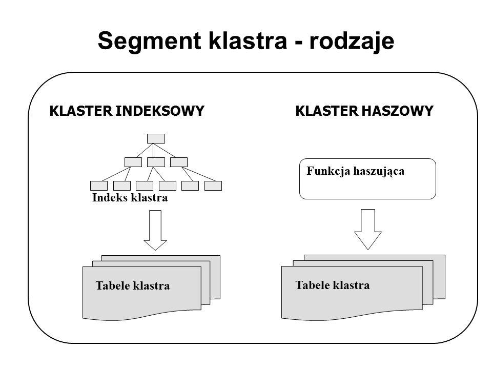 Segment klastra - rodzaje KLASTER INDEKSOWYKLASTER HASZOWY Indeks klastra Tabele klastra Funkcja haszująca Tabele klastra