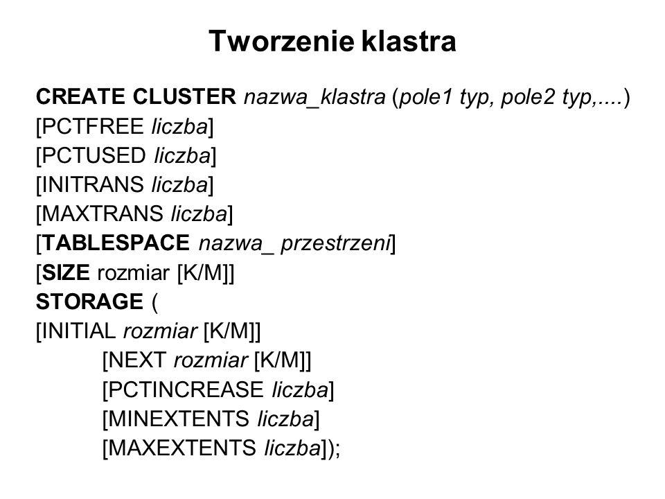Tworzenie klastra CREATE CLUSTER nazwa_klastra (pole1 typ, pole2 typ,....) [PCTFREE liczba] [PCTUSED liczba] [INITRANS liczba] [MAXTRANS liczba] [TABL