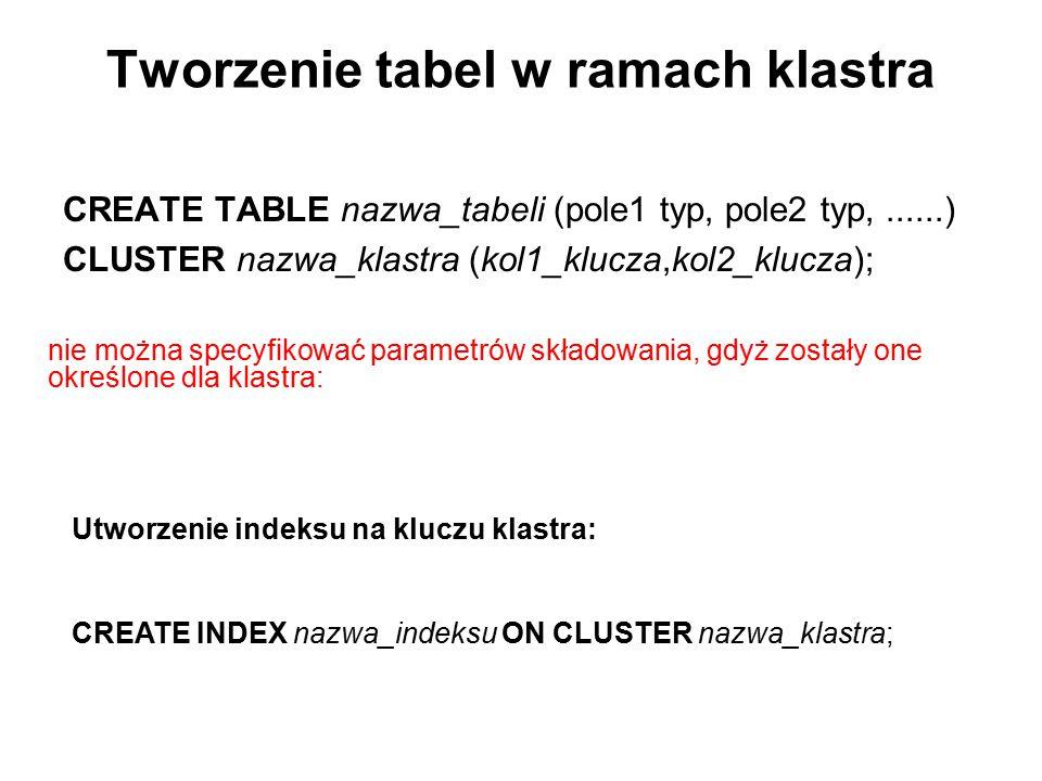 Tworzenie tabel w ramach klastra CREATE TABLE nazwa_tabeli (pole1 typ, pole2 typ,......) CLUSTER nazwa_klastra (kol1_klucza,kol2_klucza); nie można sp