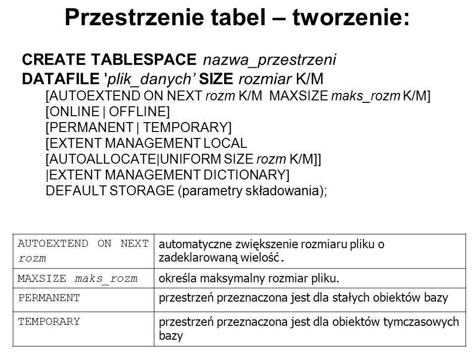 Przestrzenie tabel – tworzenie: CREATE TABLESPACE nazwa_przestrzeni DATAFILE 'plik_danych' SIZE rozmiar K/M [AUTOEXTEND ON NEXT rozm K/M MAXSIZE maks_
