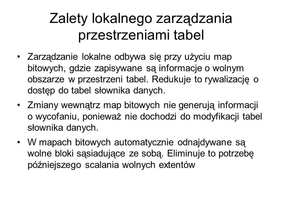 Zalety lokalnego zarządzania przestrzeniami tabel Zarządzanie lokalne odbywa się przy użyciu map bitowych, gdzie zapisywane są informacje o wolnym obs