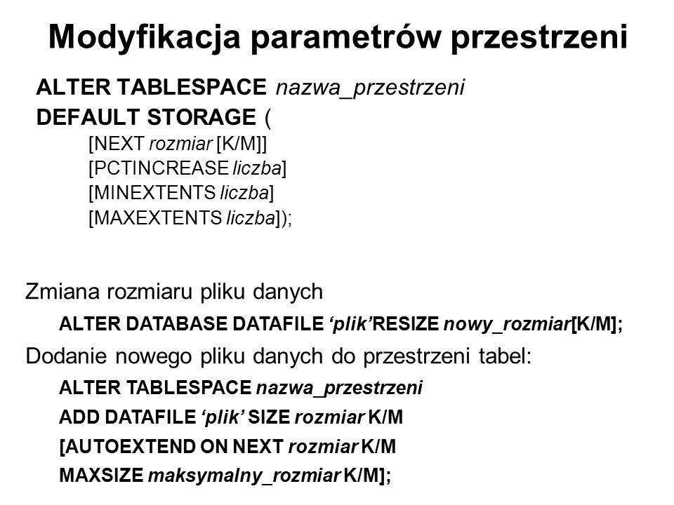 Modyfikacja parametrów przestrzeni ALTER TABLESPACE nazwa_przestrzeni DEFAULT STORAGE ( [NEXT rozmiar [K/M]] [PCTINCREASE liczba] [MINEXTENTS liczba]