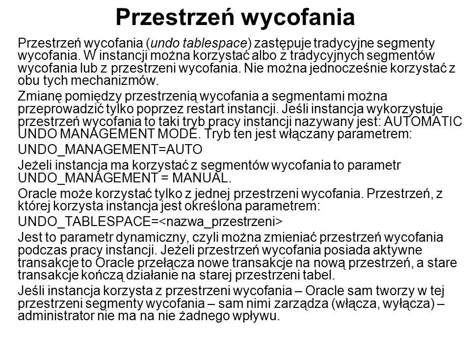 Przestrzeń wycofania Przestrzeń wycofania (undo tablespace) zastępuje tradycyjne segmenty wycofania. W instancji można korzystać albo z tradycyjnych s