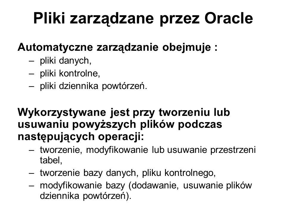 Pliki zarządzane przez Oracle Automatyczne zarządzanie obejmuje : –pliki danych, –pliki kontrolne, –pliki dziennika powtórzeń. Wykorzystywane jest prz