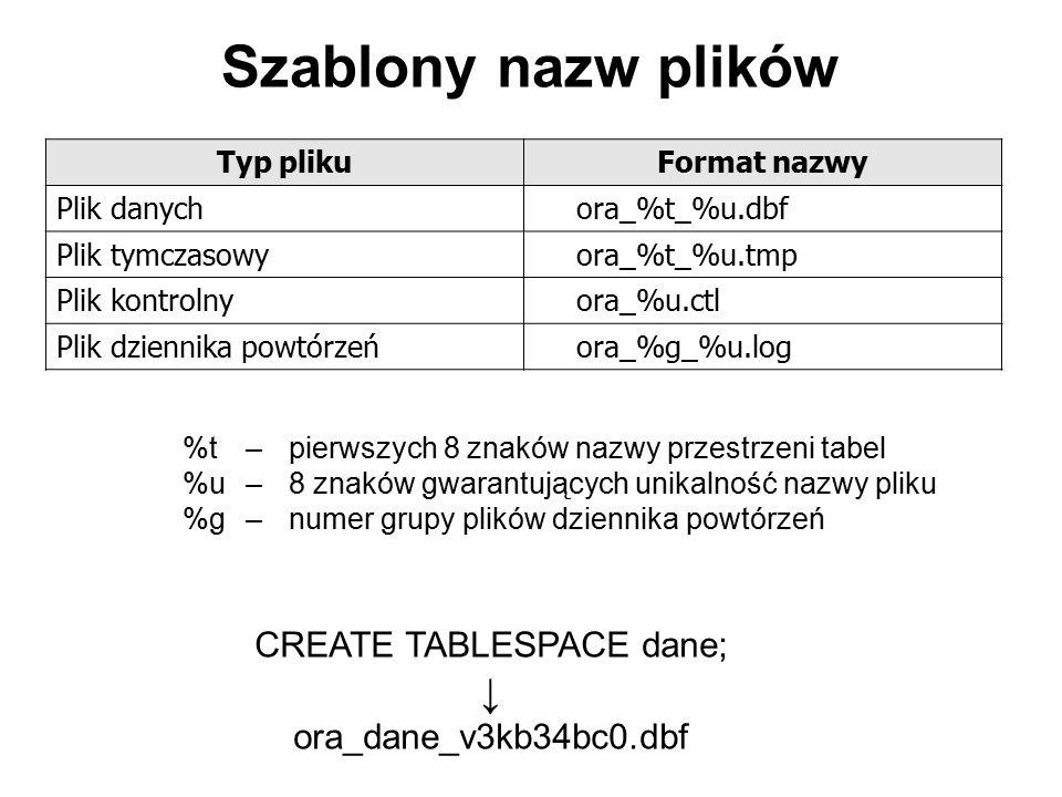 Szablony nazw plików Typ plikuFormat nazwy Plik danychora_%t_%u.dbf Plik tymczasowyora_%t_%u.tmp Plik kontrolnyora_%u.ctl Plik dziennika powtórzeńora_