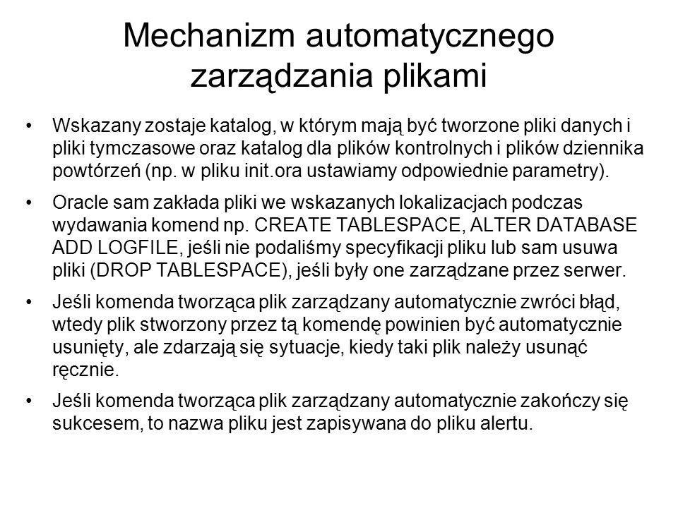 Mechanizm automatycznego zarządzania plikami Wskazany zostaje katalog, w którym mają być tworzone pliki danych i pliki tymczasowe oraz katalog dla pli