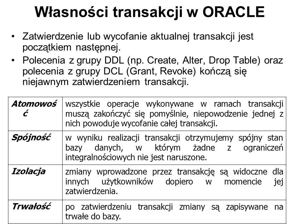 Własności transakcji w ORACLE Zatwierdzenie lub wycofanie aktualnej transakcji jest początkiem następnej. Polecenia z grupy DDL (np. Create, Alter, Dr