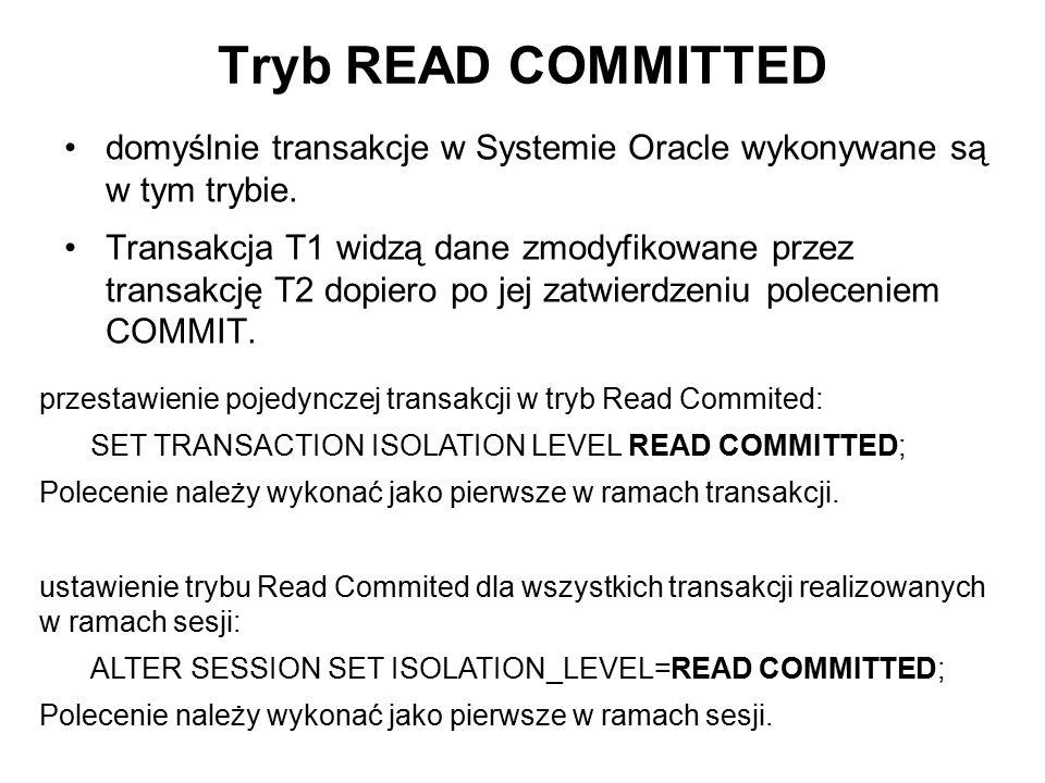 Tryb READ COMMITTED domyślnie transakcje w Systemie Oracle wykonywane są w tym trybie. Transakcja T1 widzą dane zmodyfikowane przez transakcję T2 dopi