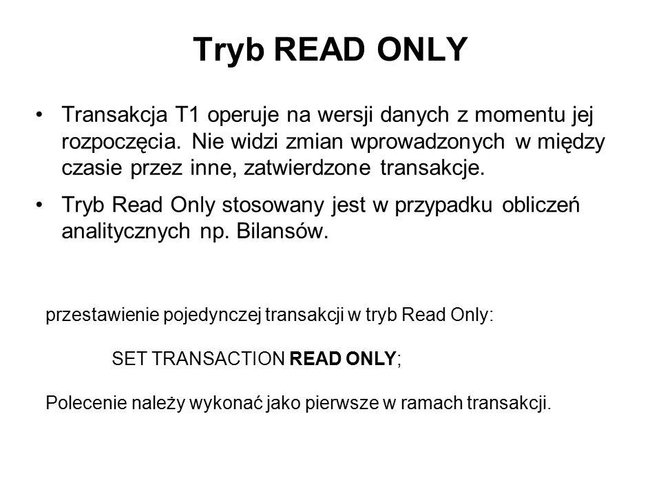 Tryb READ ONLY Transakcja T1 operuje na wersji danych z momentu jej rozpoczęcia. Nie widzi zmian wprowadzonych w między czasie przez inne, zatwierdzon