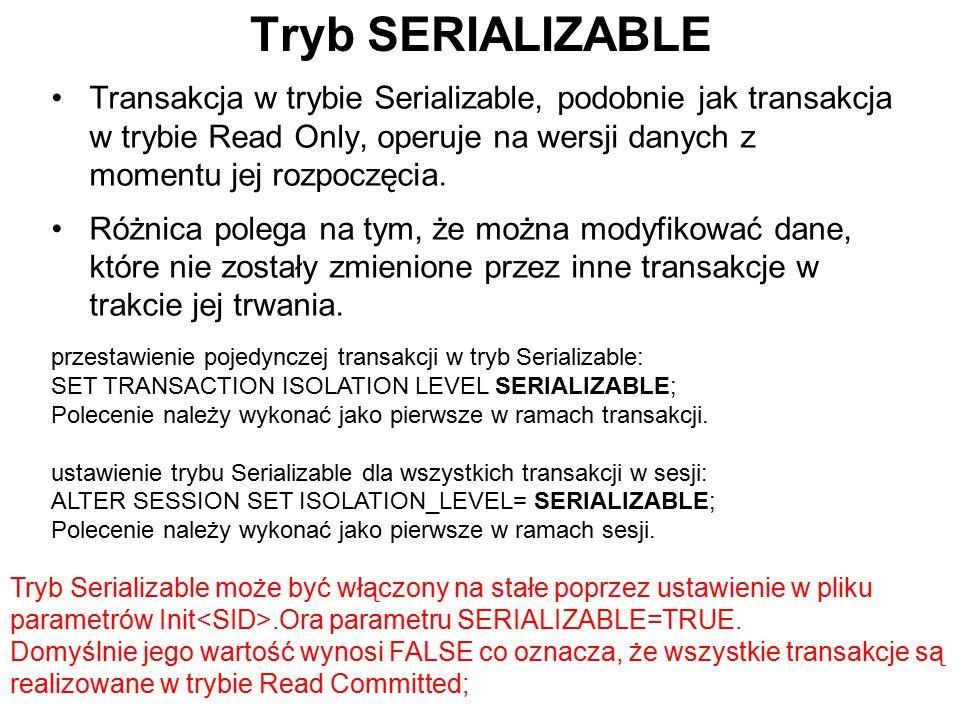 Tryb SERIALIZABLE Transakcja w trybie Serializable, podobnie jak transakcja w trybie Read Only, operuje na wersji danych z momentu jej rozpoczęcia. Ró
