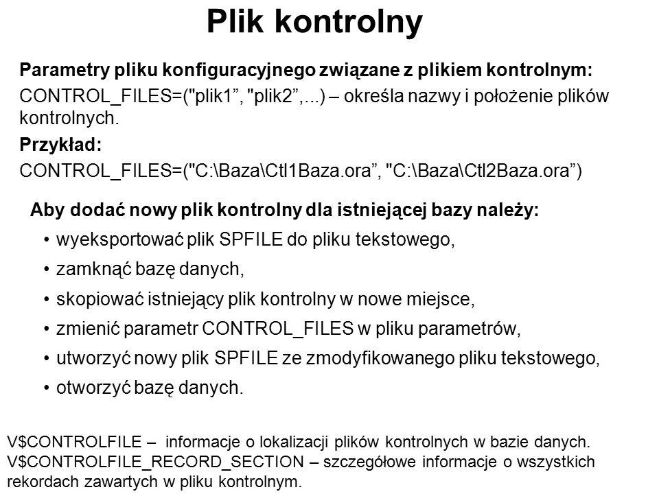 Plik kontrolny Parametry pliku konfiguracyjnego związane z plikiem kontrolnym: CONTROL_FILES=(