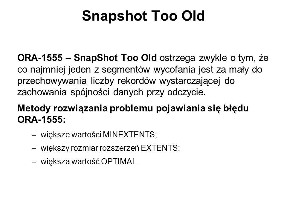 Snapshot Too Old ORA-1555 – SnapShot Too Old ostrzega zwykle o tym, że co najmniej jeden z segmentów wycofania jest za mały do przechowywania liczby r