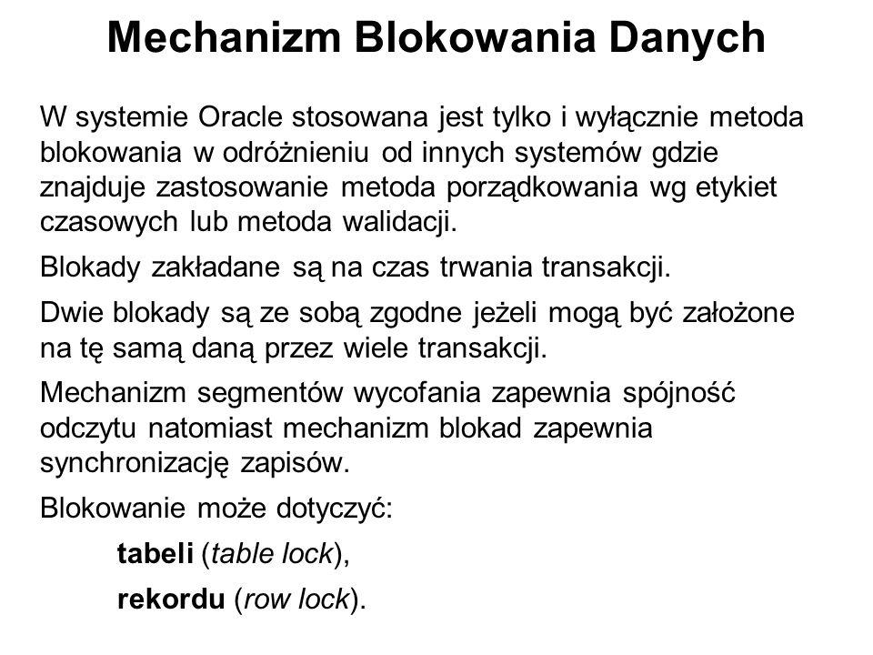 Mechanizm Blokowania Danych W systemie Oracle stosowana jest tylko i wyłącznie metoda blokowania w odróżnieniu od innych systemów gdzie znajduje zasto