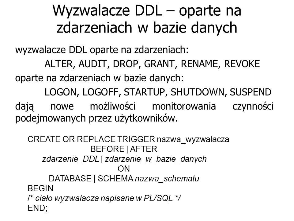 Wyzwalacze DDL – oparte na zdarzeniach w bazie danych wyzwalacze DDL oparte na zdarzeniach: ALTER, AUDIT, DROP, GRANT, RENAME, REVOKE oparte na zdarze