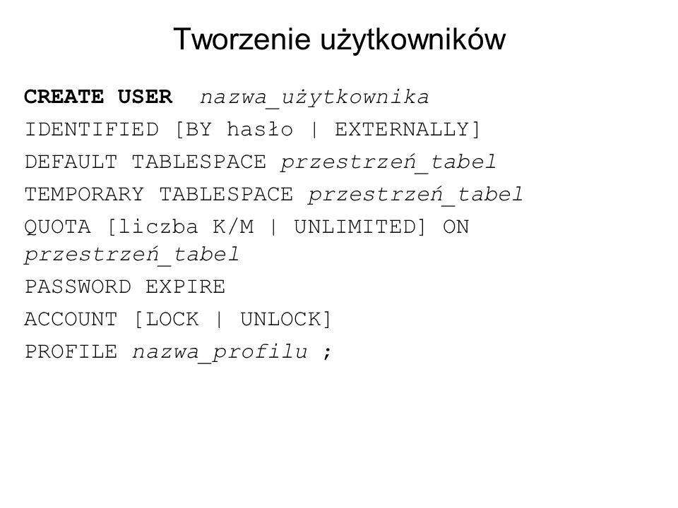 Tworzenie użytkowników CREATE USER nazwa_użytkownika IDENTIFIED [BY hasło   EXTERNALLY] DEFAULT TABLESPACE przestrzeń_tabel TEMPORARY TABLESPACE przes