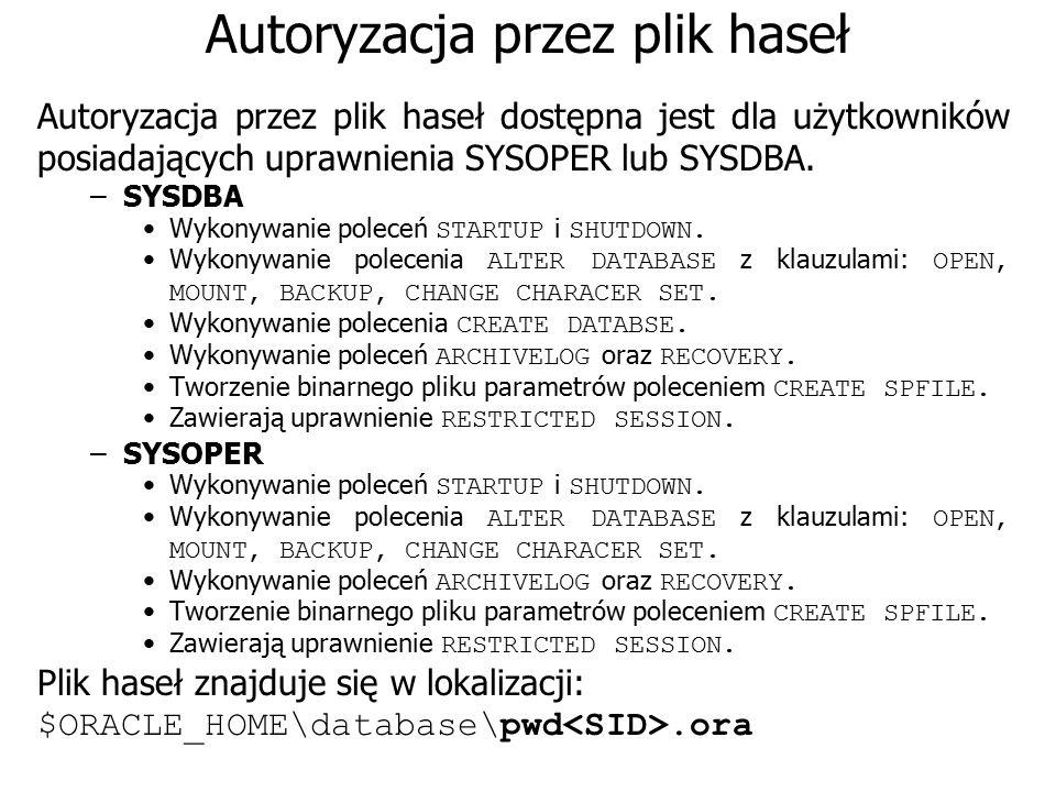 Autoryzacja przez plik haseł Autoryzacja przez plik haseł dostępna jest dla użytkowników posiadających uprawnienia SYSOPER lub SYSDBA. –SYSDBA Wykonyw