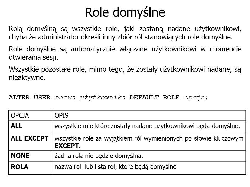 Role domyślne Rolą domyślną są wszystkie role, jaki zostaną nadane użytkownikowi, chyba że administrator określi inny zbiór ról stanowiących role domy