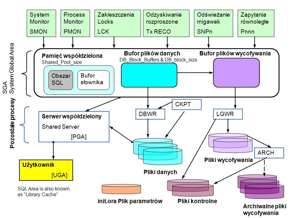 System Monitor SMON Zapytania równoległe Pnnn Process Monitor PMON Zakleszczenia Locks LCK Odzyskiwanie rozproszone Tx RECO Odświeżanie migawek SNPn P