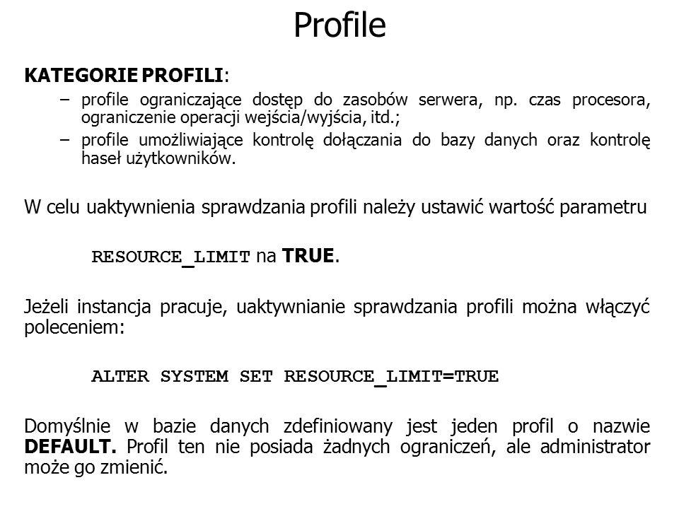 Profile KATEGORIE PROFILI: –profile ograniczające dostęp do zasobów serwera, np. czas procesora, ograniczenie operacji wejścia/wyjścia, itd.; –profile