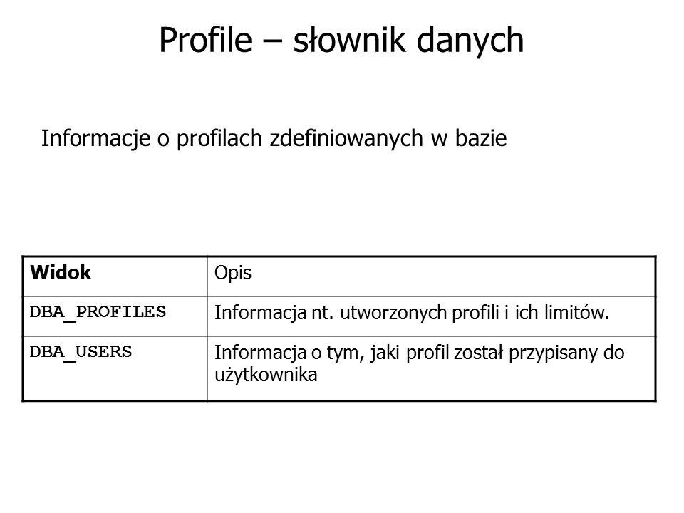 Profile – słownik danych Informacje o profilach zdefiniowanych w bazie WidokOpis DBA_PROFILES Informacja nt. utworzonych profili i ich limitów. DBA_US