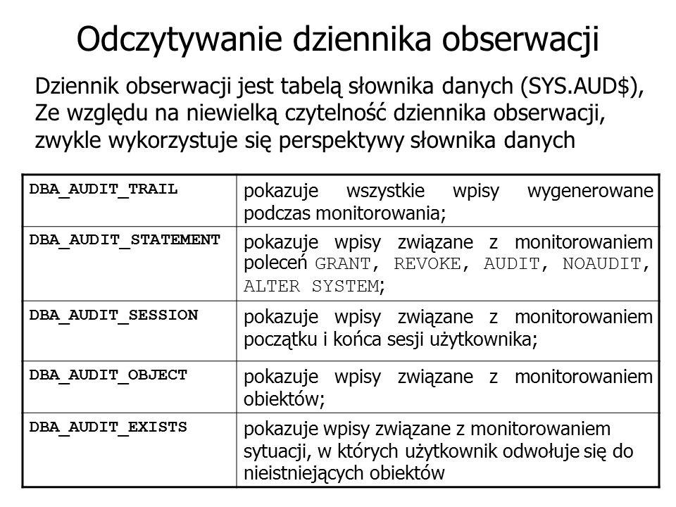 Odczytywanie dziennika obserwacji Dziennik obserwacji jest tabelą słownika danych (SYS.AUD$), Ze względu na niewielką czytelność dziennika obserwacji,