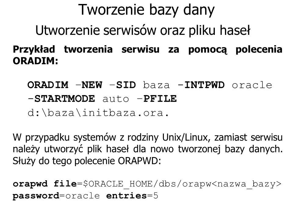 Tworzenie bazy dany Utworzenie serwisów oraz pliku haseł Przykład tworzenia serwisu za pomocą polecenia ORADIM: ORADIM –NEW –SID baza -INTPWD oracle -