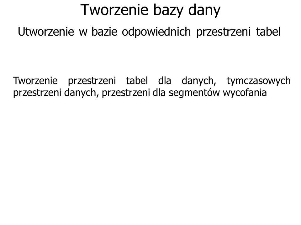 Tworzenie bazy dany Utworzenie w bazie odpowiednich przestrzeni tabel Tworzenie przestrzeni tabel dla danych, tymczasowych przestrzeni danych, przestr
