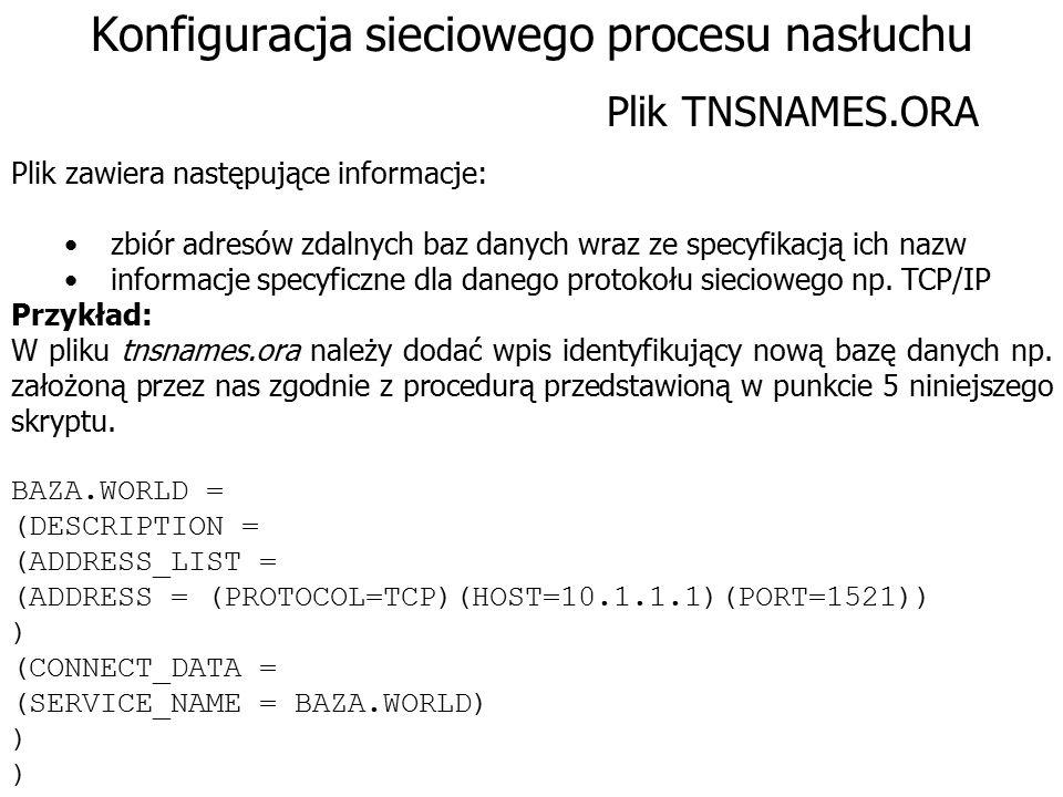 Konfiguracja sieciowego procesu nasłuchu Plik zawiera następujące informacje: zbiór adresów zdalnych baz danych wraz ze specyfikacją ich nazw informac