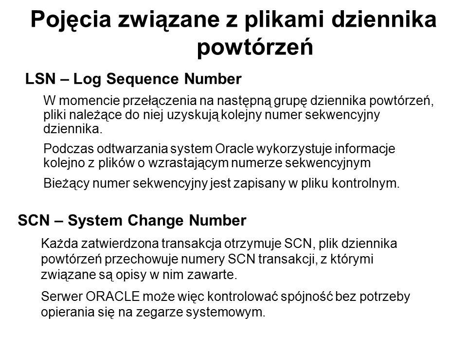 Pojęcia związane z plikami dziennika powtórzeń LSN – Log Sequence Number W momencie przełączenia na następną grupę dziennika powtórzeń, pliki należące