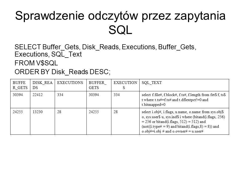 Sprawdzenie odczytów przez zapytania SQL SELECT Buffer_Gets, Disk_Reads, Executions, Buffer_Gets, Executions, SQL_Text FROM V$SQL ORDER BY Disk_Reads