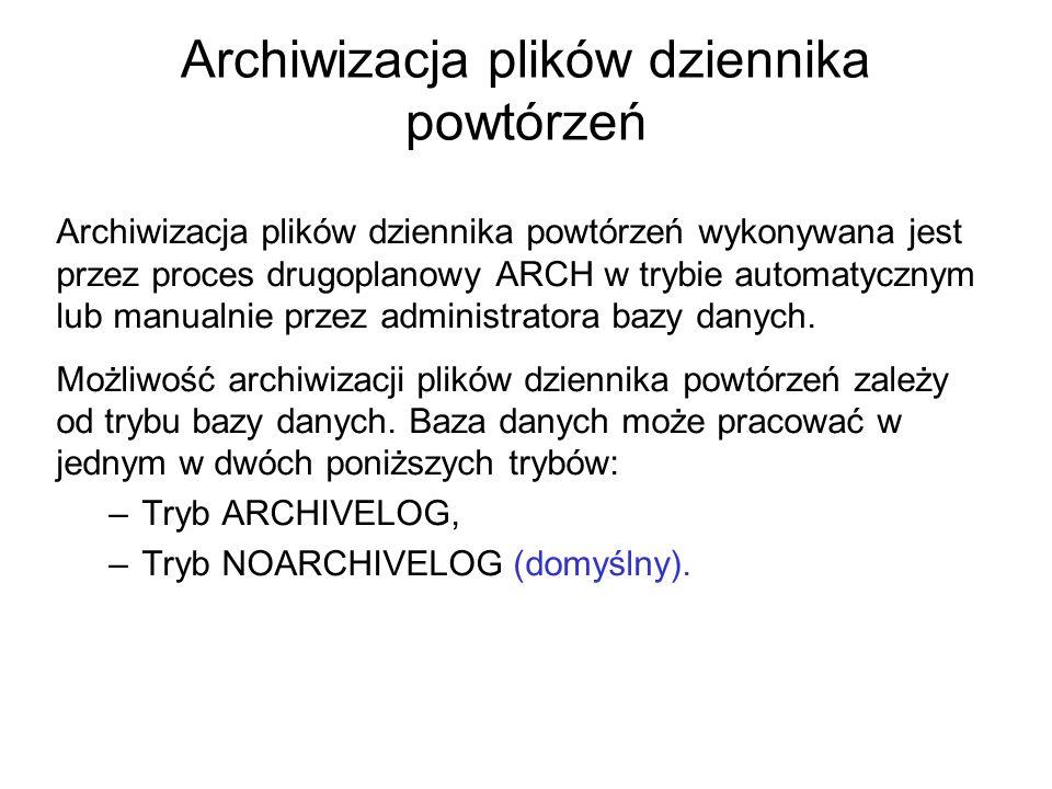 Archiwizacja plików dziennika powtórzeń Archiwizacja plików dziennika powtórzeń wykonywana jest przez proces drugoplanowy ARCH w trybie automatycznym