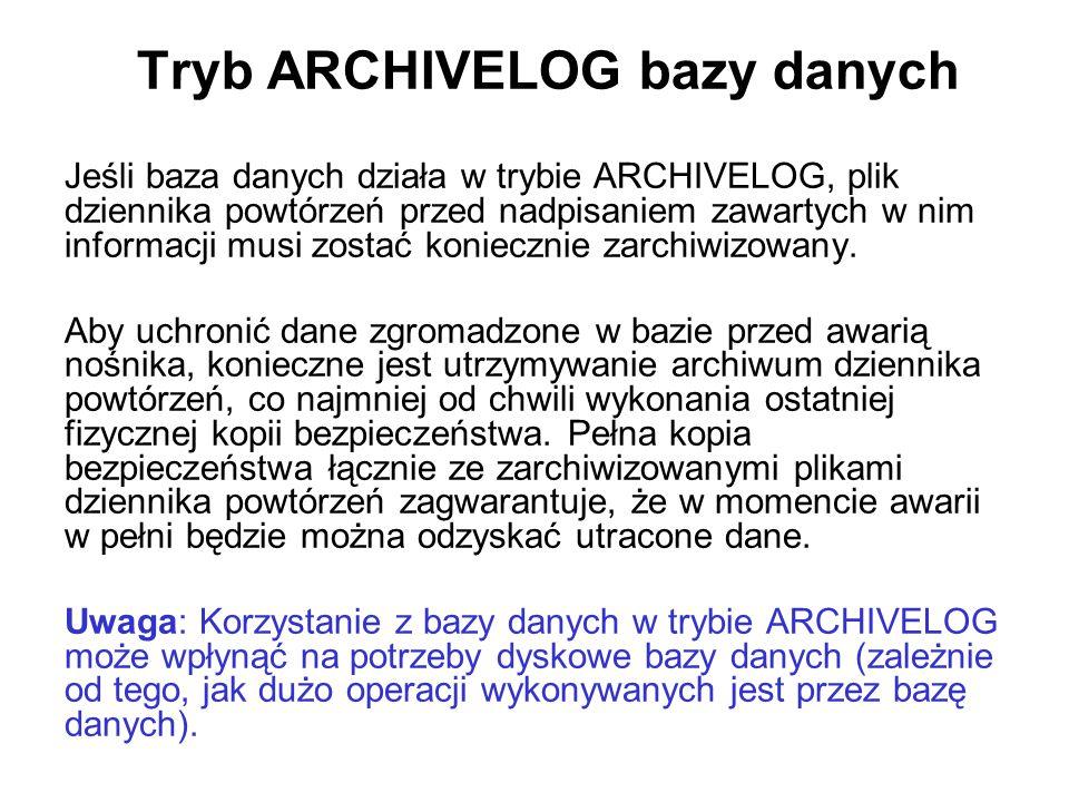 Tryb ARCHIVELOG bazy danych Jeśli baza danych działa w trybie ARCHIVELOG, plik dziennika powtórzeń przed nadpisaniem zawartych w nim informacji musi z