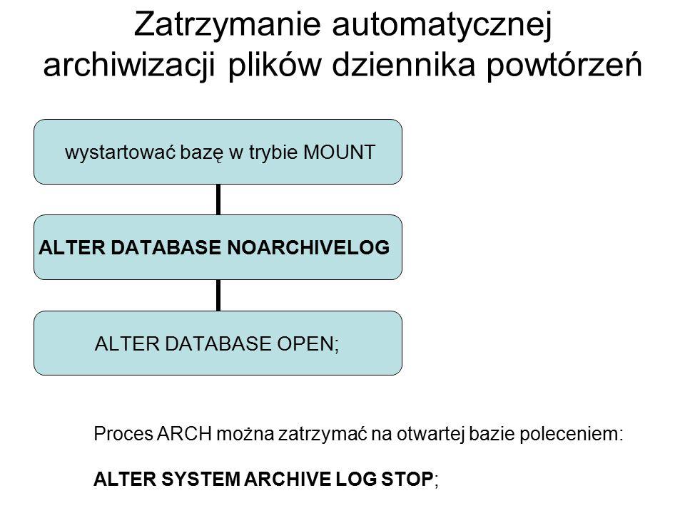 Zatrzymanie automatycznej archiwizacji plików dziennika powtórzeń wystartować bazę w trybie MOUNT ALTER DATABASE NOARCHIVELOG ALTER DATABASE OPEN; Pro