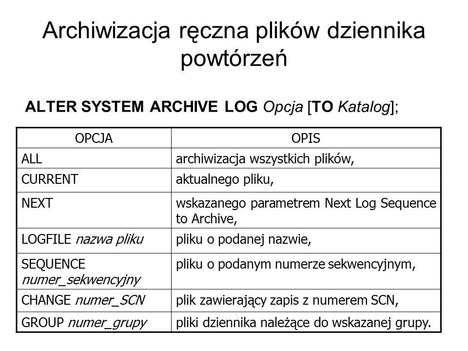 Archiwizacja ręczna plików dziennika powtórzeń ALTER SYSTEM ARCHIVE LOG Opcja [TO Katalog]; OPCJAOPIS ALLarchiwizacja wszystkich plików, CURRENTaktual