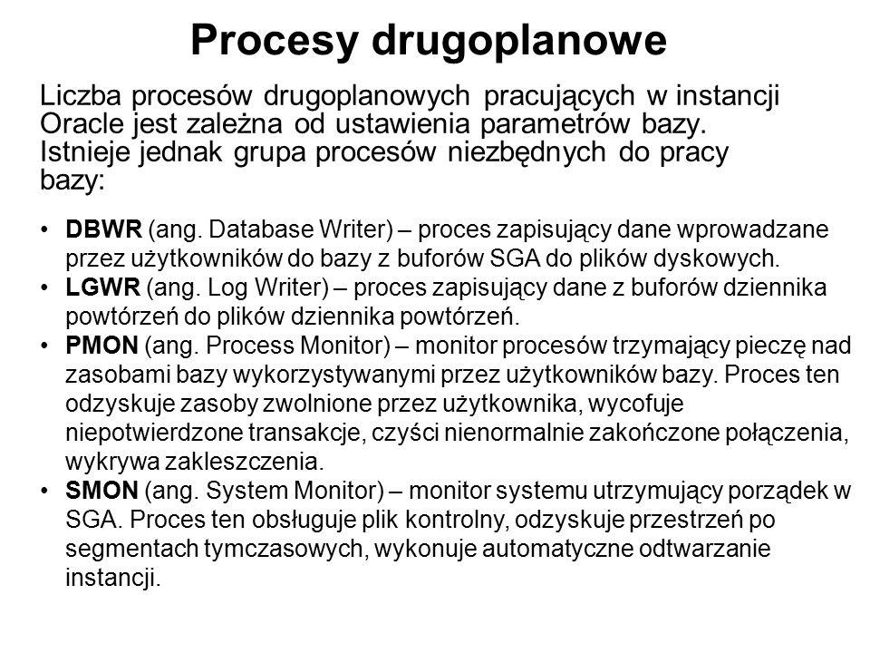Procesy drugoplanowe Liczba procesów drugoplanowych pracujących w instancji Oracle jest zależna od ustawienia parametrów bazy. Istnieje jednak grupa p