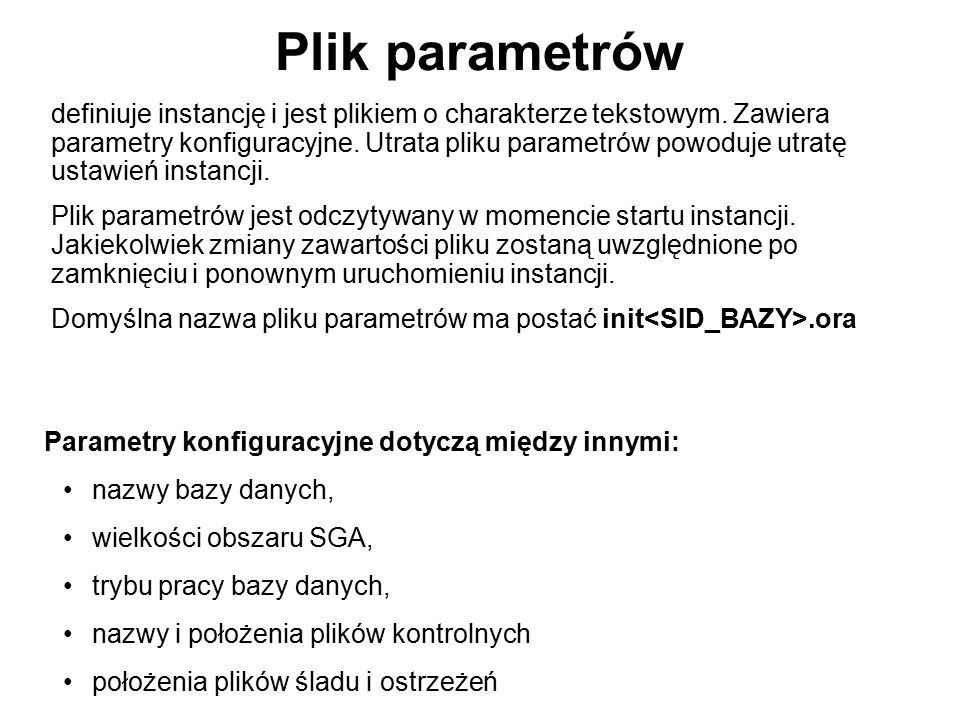 Plik parametrów definiuje instancję i jest plikiem o charakterze tekstowym. Zawiera parametry konfiguracyjne. Utrata pliku parametrów powoduje utratę