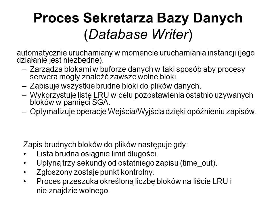 Proces Sekretarza Bazy Danych (Database Writer) automatycznie uruchamiany w momencie uruchamiania instancji (jego działanie jest niezbędne). –Zarządza