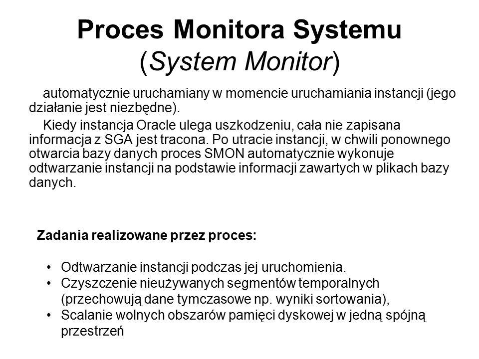 Proces Monitora Systemu (System Monitor) automatycznie uruchamiany w momencie uruchamiania instancji (jego działanie jest niezbędne). Kiedy instancja