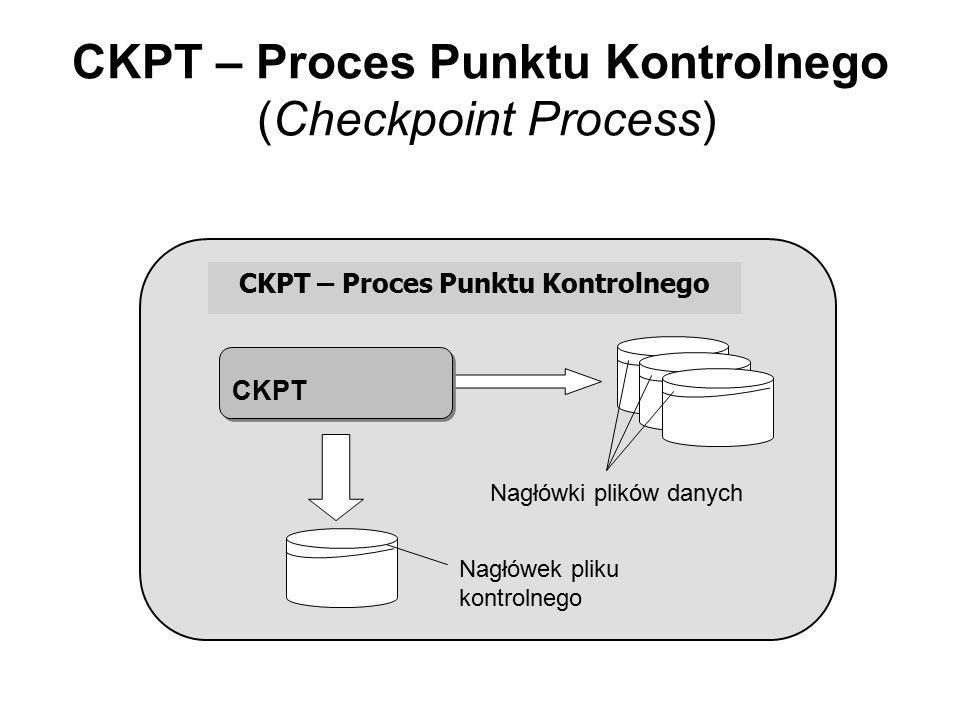 CKPT – Proces Punktu Kontrolnego (Checkpoint Process) CKPT – Proces Punktu Kontrolnego CKPT Nagłówki plików danych Nagłówek pliku kontrolnego