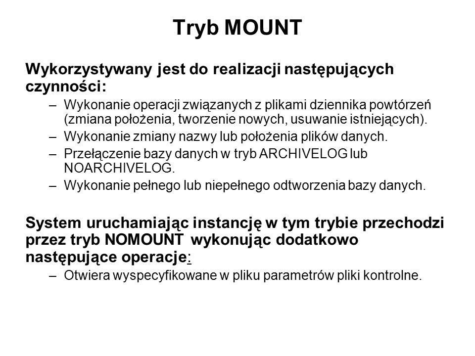 Tryb MOUNT Wykorzystywany jest do realizacji następujących czynności: –Wykonanie operacji związanych z plikami dziennika powtórzeń (zmiana położenia,