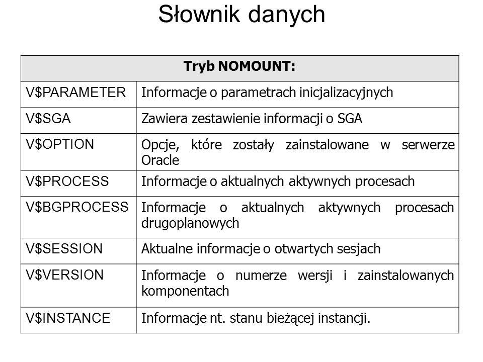 Słownik danych Tryb NOMOUNT: V$PARAMETER Informacje o parametrach inicjalizacyjnych V$SGA Zawiera zestawienie informacji o SGA V$OPTION Opcje, które z