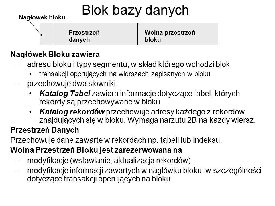 Blok bazy danych Nagłówek Bloku zawiera –adresu bloku i typy segmentu, w skład którego wchodzi blok transakcji operujących na wierszach zapisanych w b