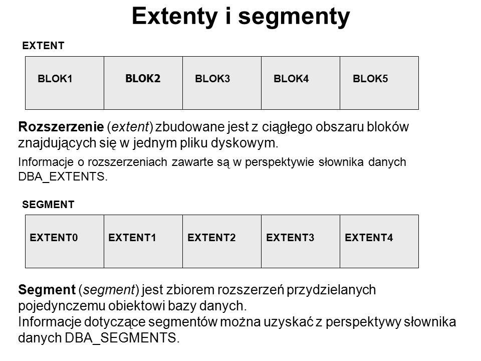 Extenty i segmenty EXTENT BLOK1 BLOK2 BLOK3BLOK4BLOK5 SEGMENT EXTENT0EXTENT1EXTENT2EXTENT3EXTENT4 Rozszerzenie (extent) zbudowane jest z ciągłego obsz