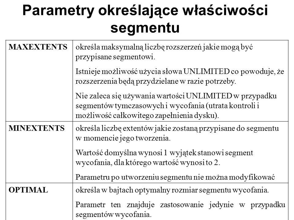 Parametry określające właściwości segmentu MAXEXTENTSokreśla maksymalną liczbę rozszerzeń jakie mogą być przypisane segmentowi. Istnieje możliwość uży