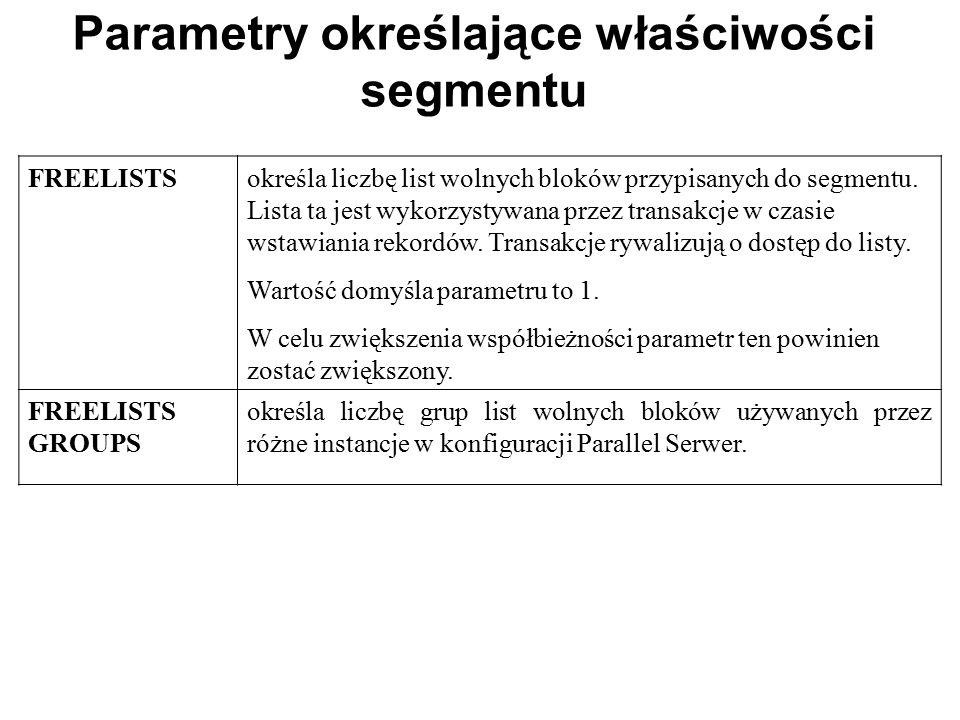 Parametry określające właściwości segmentu FREELISTSokreśla liczbę list wolnych bloków przypisanych do segmentu. Lista ta jest wykorzystywana przez tr