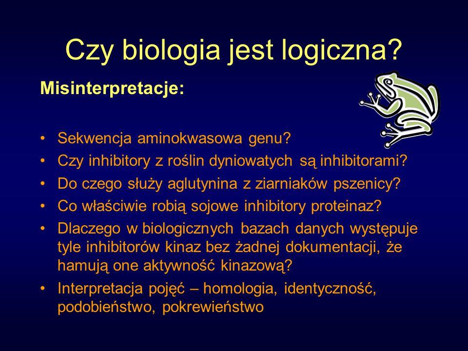 Czy biologia jest logiczna. Misinterpretacje: Sekwencja aminokwasowa genu.