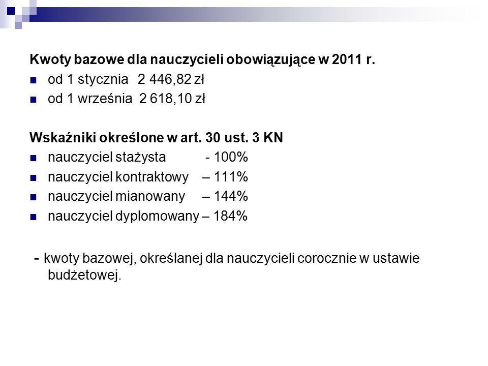 Kwoty bazowe dla nauczycieli obowiązujące w 2011 r. od 1 stycznia 2 446,82 zł od 1 września 2 618,10 zł Wskaźniki określone w art. 30 ust. 3 KN nauczy