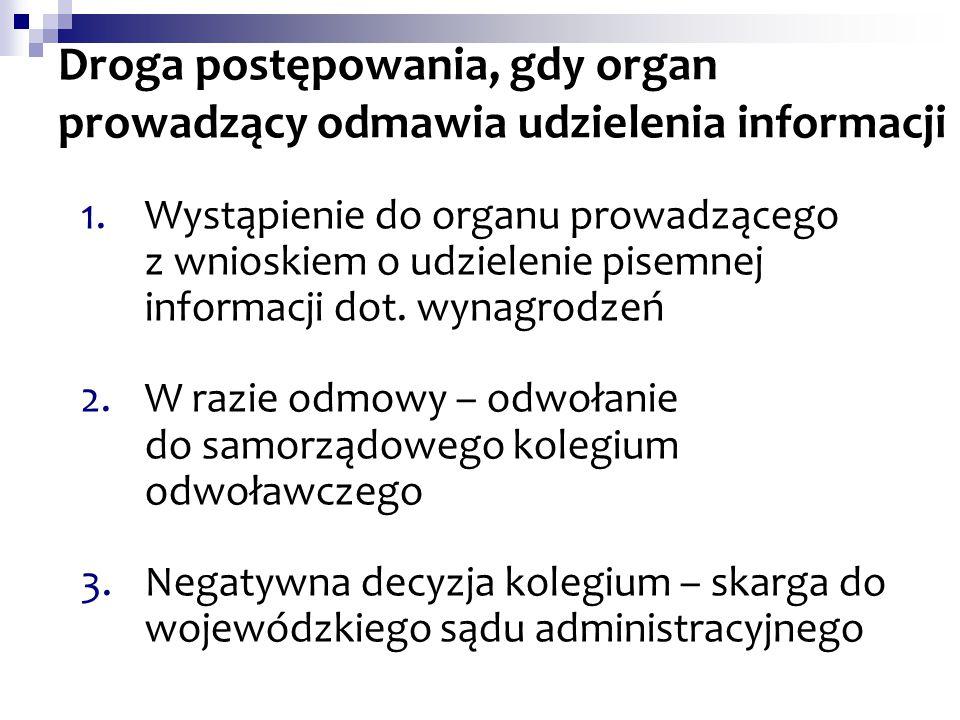 Droga postępowania, gdy organ prowadzący odmawia udzielenia informacji 1.Wystąpienie do organu prowadzącego z wnioskiem o udzielenie pisemnej informac